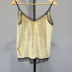 Pull & Bear velour Camisole with Sheer Trim